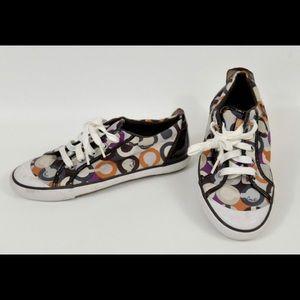 Coach Barret shoes sz 7 brown purple orange